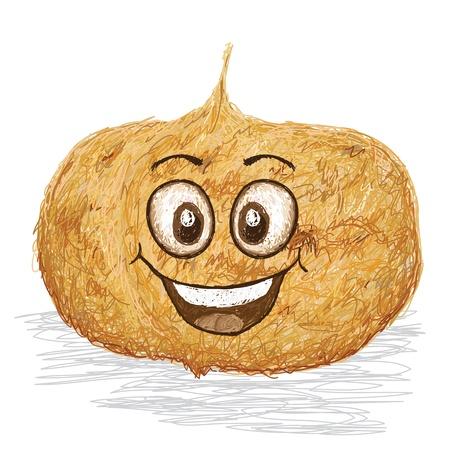 happy jicama fruit cartoon character smiling    Illustration