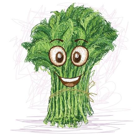personaje de dibujos animados de verduras kangkong feliz sonriendo