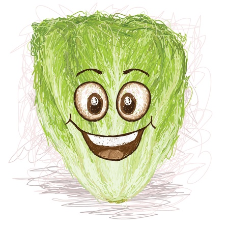 leaf lettuce: happy lettuce vegetable cartoon character smiling
