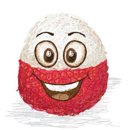 lychee: happy lychee fruit cartoon character smiling    Illustration
