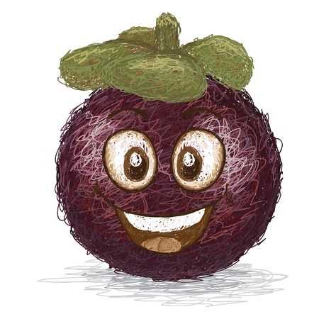 happy mangosteen fruit cartoon character smiling    Illustration