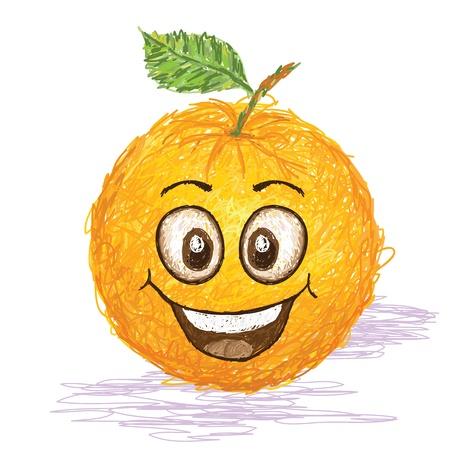 happy orange fruit cartoon character smiling    Vector
