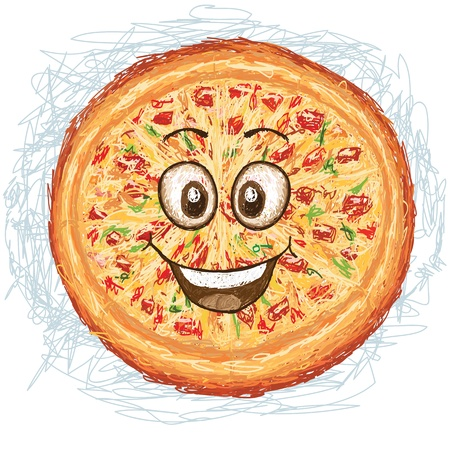 happy pizza cartoon character smiling    Stock Vector - 19871107