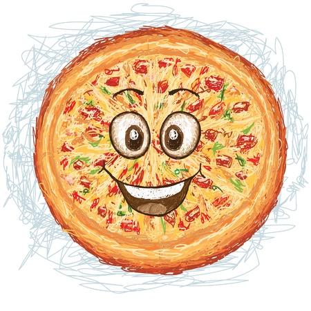 happy pizza cartoon character smiling Stock Vector - 19871107