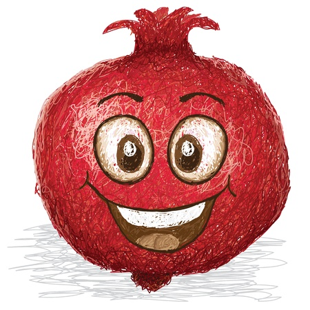 happy pomegranate fruit cartoon character smiling    Vector