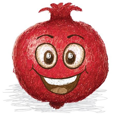 cartoon fruit: happy pomegranate fruit cartoon character smiling    Illustration