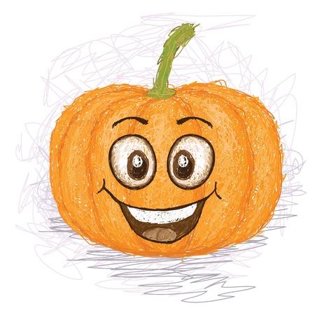 glücklich Kürbis Gemüse Zeichentrickfigur lächelnd