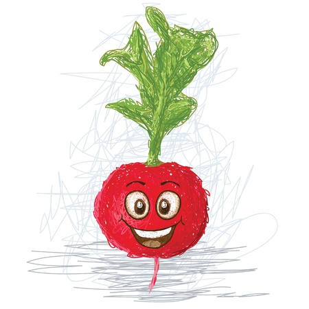 happy radish vegetable cartoon character smiling    Vector