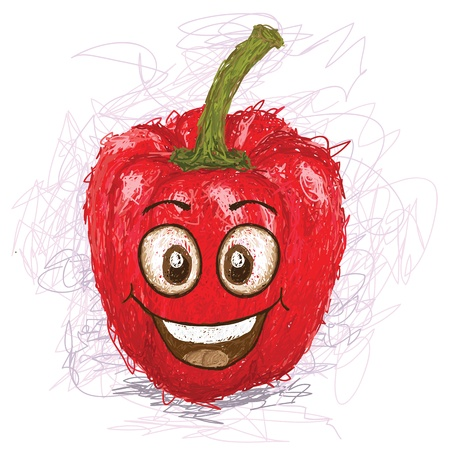 pimento: happy red bell pepper cartoon character smiling    Illustration