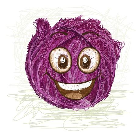 vegetable cartoon: col roja vegetales personaje de dibujos animados feliz sonriendo