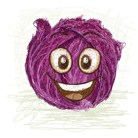 violet red: happy red cabbage vegetable cartoon character smiling    Illustration