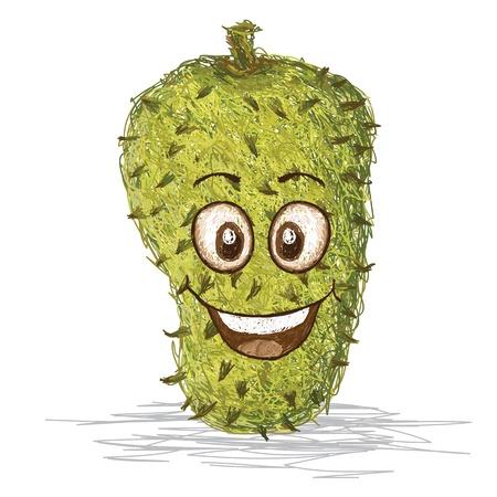 exotic fruit: happy soursop fruit cartoon character smiling    Illustration