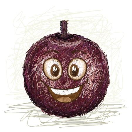 happy star apple fruit cartoon character smiling    Illustration