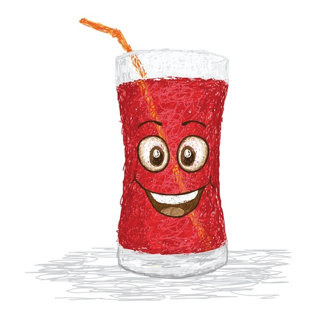 happy strawberry juice cartoon character smiling    Vector