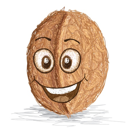 nutty: happy walnut cartoon character smiling