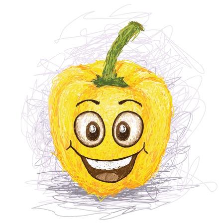 vegetable cartoon: pimiento personaje de dibujos vegetales de color amarillo sonriendo feliz Vectores