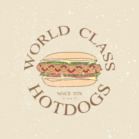 illustration of vintage world class hotdogs sandwich label stamp design element    Vector