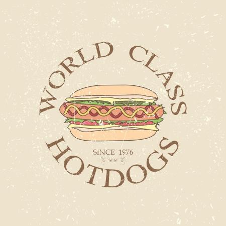 hot dog label: illustration of vintage world class hotdogs sandwich label stamp design element    Illustration