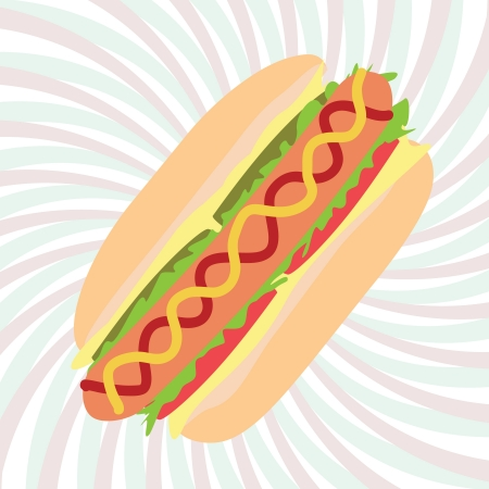 catsup: illustration of hotdog sandwich with mustard, cheese catsup and vegetables