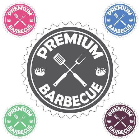 illustration of barbecue label, stamp design element with text premium barbecue    Vector