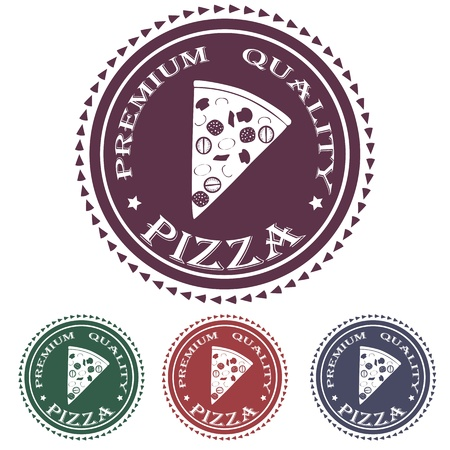 illustration of premium pizza quality label stamp design element    Vector