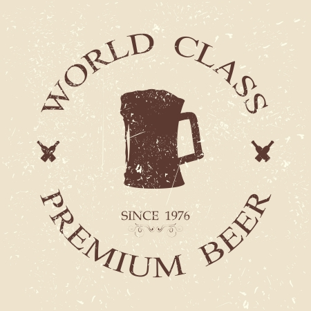 world class: illustration of vintage grunged world class premium beer label, stamp design element    Illustration
