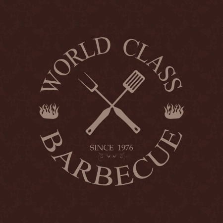 illustration of world class barbecue label, stamp design element    Vector