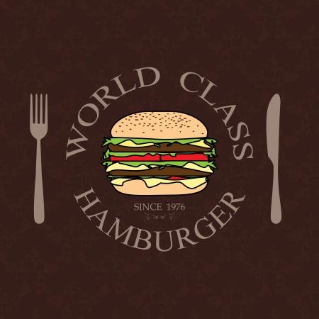 gourmet burger: illustration world class burger label stamp banner design element    Illustration