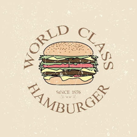 gourmet burger: illustration world class hamburger label stamp banner design element