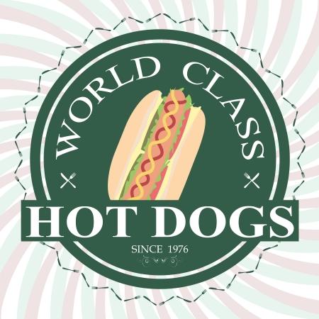 illustration of hotdog sandwich world class label stamp design element