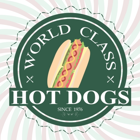 mustard: illustration of hotdog sandwich world class label stamp design element