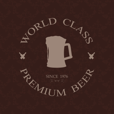 world class: illustration of vintage world class premium beer label, stamp design element