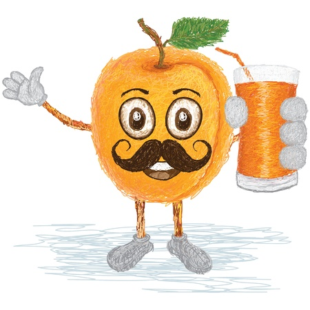apricot: unique style illustration of funny, happy cartoon yellow apricot fruit with mustache holding a glass of apricot juice waving