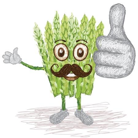 esparragos: ejemplo del estilo único de divertido, de dibujos animados feliz de verduras espárragos verdes con agitar bigote, que los pulgares arriba gesto Vectores