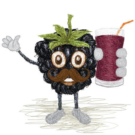 unique style illustration of funny, happy cartoon black berry fruit with mustache holding a glass of blackberry juice waving Vector Illustration