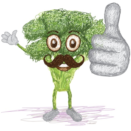 brocoli: unique style illustration of funny, happy cartoon green broccoli vegetable with mustache waving, giving thumbs up gesture    Illustration