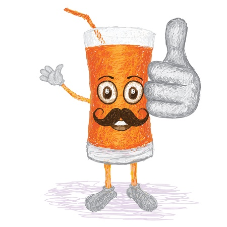 carrot juice: unique style illustration of funny, happy cartoon glass of carrot juice with mustache waving, giving thumbs up gesture    Illustration