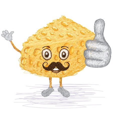 ingedient: unique style illustration of funny, happy cartoon cheese with mustache waving, giving thumbs up gesture