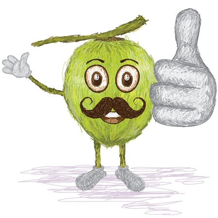 husk: unique style illustration of funny, happy cartoon green coconut fruit with mustache waving, giving thumbs up gesture