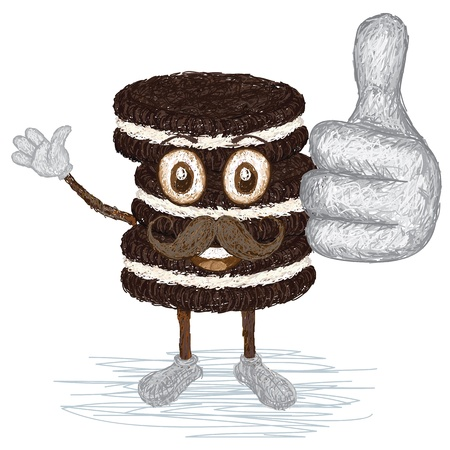 chocolate chip: unique style illustration of funny, happy cartoon chocolate cookies with mustache waving, giving thumbs up gesture