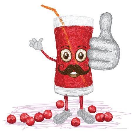 cranberry illustration: unique style illustration of funny, happy cartoon red cranberry fruit juice with mustache waving, giving thumbs up gesture