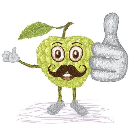 custard: unique style illustration of funny, happy cartoon green custard apple fruit with mustache waving, giving thumbs up gesture    Illustration