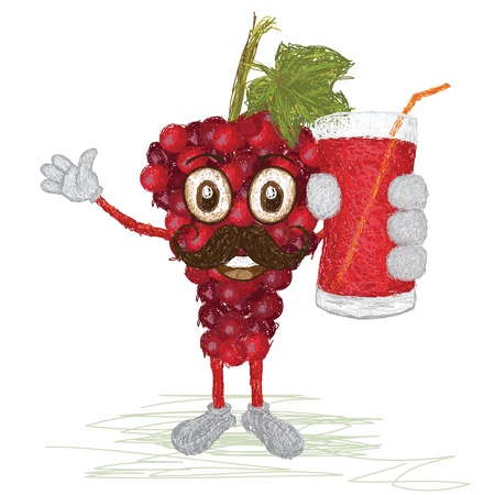grape juice: unique style illustration of funny, happy cartoon red grapes fruit with mustache holding a glass of grapes juice waving    Illustration