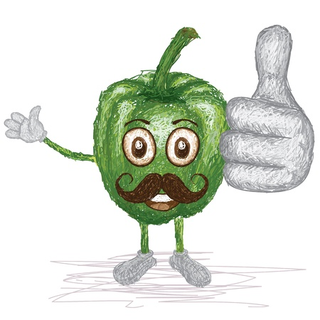 pimento: unique style illustration of funny, happy cartoon green bell pepper with mustache waving, giving thumbs up gesture