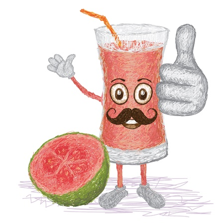 guava fruit: unique style illustration of funny, happy cartoon guava fruit juice glass with mustache waving, giving thumbs up gesture
