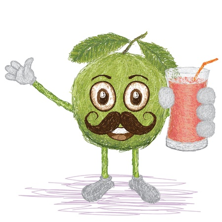 guava fruit: unique style illustration of funny, happy cartoon green guava fruit with mustache holding a glass of guava juice waving