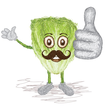 leaf lettuce: unique style illustration of funny, happy cartoon green lettuce vegetable with mustache waving, giving thumbs up gesture    Illustration