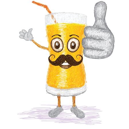 orange juice glass: illustrazione stile unico di divertente, cartone animato felice bicchiere di succo d'arancia con i baffi agitando, dando pollice in alto gesto