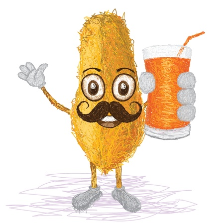 papaya: unique style illustration of funny, happy cartoon yellow papaya fruit with mustache holding a glass of papaya juice waving