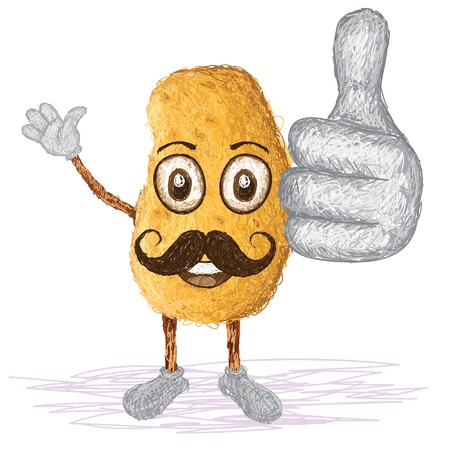 starch: unique style illustration of funny, happy cartoon potato with mustache waving, giving thumbs up gesture    Illustration